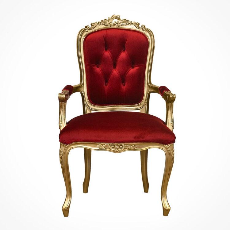 louis xv elise bedroom chair gold frame plush red velvet upholstery